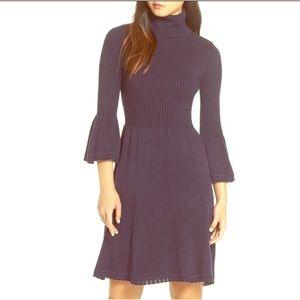 NEW Elisa J Turtleneck Sweater Dress bell sleeves